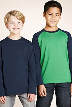 3 Pack - Pure Cotton Long Sleeve Plain T-shirts