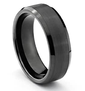 8MM Tungsten Carbide Brushed Black Mens Wedding Band Ring (Available Sizes 7-14 Including Half Sizes) (9.5)