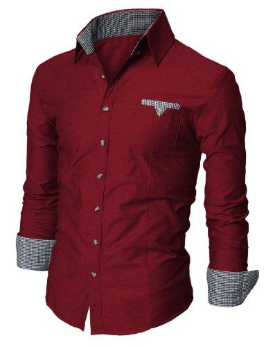 Jiniy Mens Casual Button-Down Shirts WINE XL