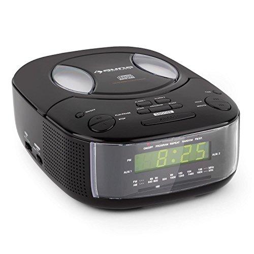 auna-Dreamee-BK-Radiowecker-Uhrenradio-Stereoanlage-mit-Top-Loading-CD-Player-groe-Uhrzeitanzeige-LCD-Display-Schlummerfunktion-Sleep-Timer-AUX-UKWMW-integrierte-Stereolautsprecher-Schwarz