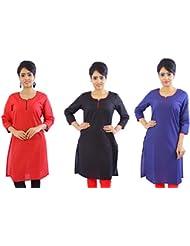 Fab Rajasthan Unique Arts Designer Weightless Solid Cotton Kurtis Combo Pack Of 3 Kurtis