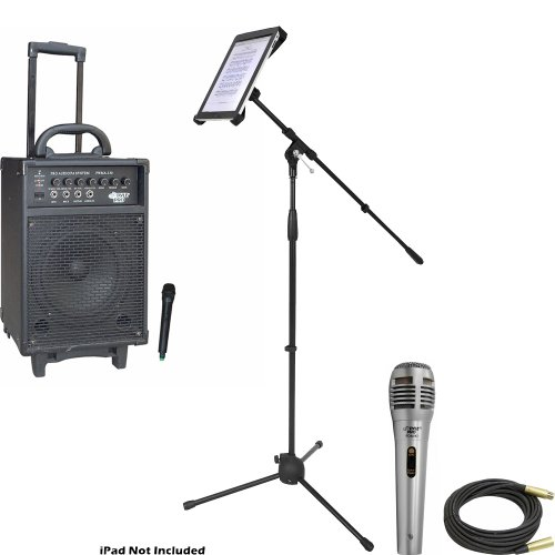 Pyle Speaker, Mic, Stand And Cable System Package For Your Studio, Concert, Stage, Performance, Bar, Home, Etc. - Pwma330 300 Watt Vhf Wireless Battery Powered Pa System W/Echo - Pdmik1 Professional Moving Coil Dynamic Handheld Microphone - Pmkspad1 Multi