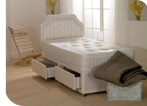 "Storage Bed - 3ft single divan bed with TWO large drawers and 10"" thick hypoallergenic mattress"