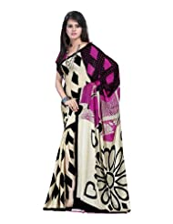 Traditional Wear Cream & Green Printed Saree