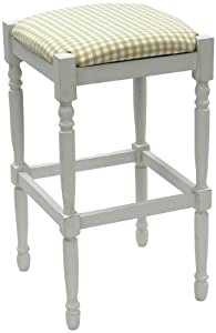 Carolina Cottage 2663-MW-TC Biscuit and White Check, 30-Inch White Hawthorne Upholstered Bar Stool