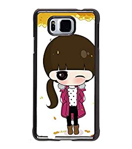 Fuson Premium 2D Back Case Cover Cute Winkling girl With Multi Background Degined For Samsung Galaxy Alpha G850