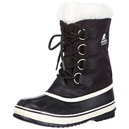 Sturdy, lined canvas pairs with a rugged waterproof rubber shell on these classic Sorel boots. The removable felt lining is trimmed with plush sherpa, and D-ring hardware accents the lace-up closure. Lug sole.