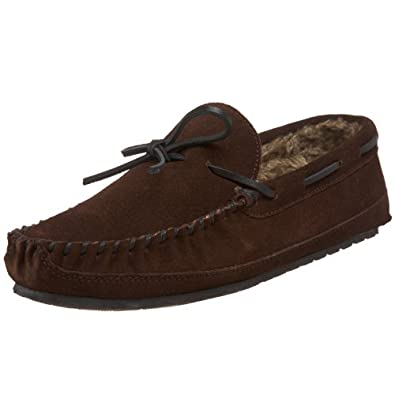 Minnetonka Men's Casey Slipper,Chocolate Suede,7 M US