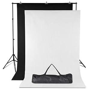 Yahee 365 2x3m Foto-Studio Foto-Studio Fotohintergrund Foto Hintergrund Hintergrundsystem Foto Ständer (Weiß / Schwarz)
