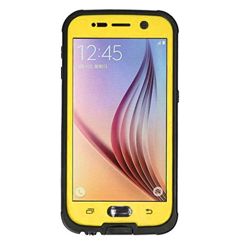 FAVOLCANO® Samsung Galaxy S6 Waterproof Case, Newest Version Ultra-thin 6.6ft Underwater IP68 Waterproof Shockproof Snowproof Dirtpoof Protection Case Cover Built-in Kickstand with Fingerprint Recognition Touch ID for Samsung Galaxy S6 (Yellow) coupons 2016