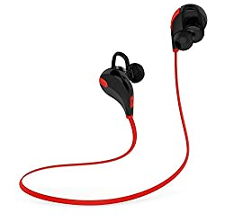 Chkokko QY7 New Upgraded Wireless Bluetooth 4.1 Stereo Earphone Sport Running Headphone with Mic Red