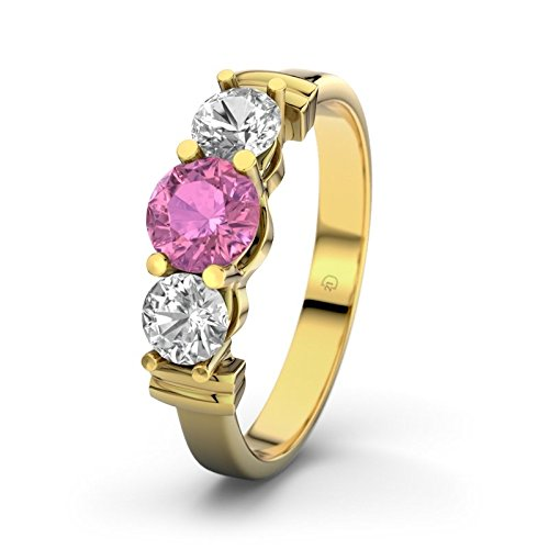 21DIAMONDS Sabrina Women's Ring Engagement Ring Round Brilliant Cut Pink Tourmaline 9ct Yellow Gold Engagement Ring