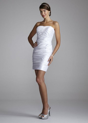 David&#8217;s Bridal Wedding Dress: Strapless Taffeta Beaded Sheath Dress Style 722D