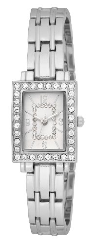 FMD Silver-Tone Crystal Accent Dial Crystal Bezel Metal Bracelet Ladies' Watch