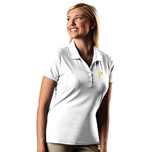 Pittsburgh Pirates Ladies Pique Xtra Lite Polo Shirt (White) by Antigua