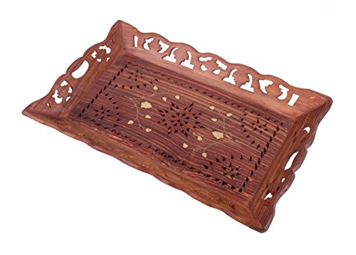 Decorative Handcarved Rosewood Snack Or Coffee Serving Tray With Brass Inlay