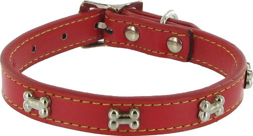 Give a Dog a Bone Leather Dog Collar - Red, 1/2