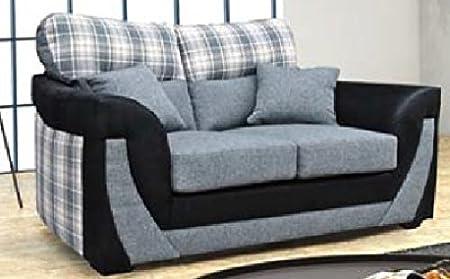 Grau und Schwarz 2-Sitzer Sofa in Stoff
