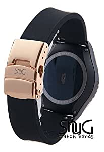 SnuG Watchbands Samsung Gear S2 classic 20mm Replacement Smart Watch Band fits Samsung Gear s2 CLASSIC only- Quick Release - (Black with Rose Gold Buckle)