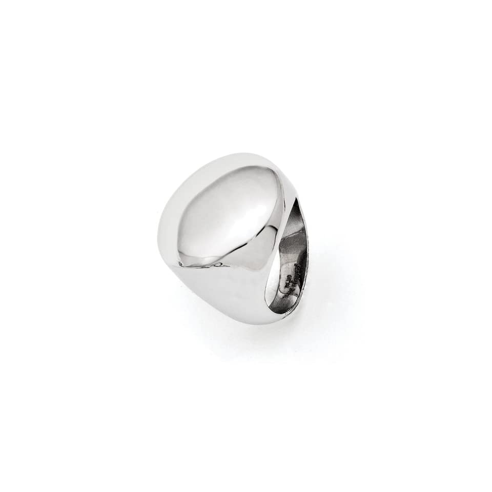 Stainless Steel Polished Circular Signet Ring Size 5
