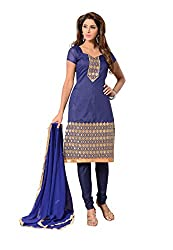 Fabdeal Womens Chanderi Unstitched Dress Material (HUT2DR4210NCR_Blue)