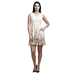 MansiCollections Women's Fit and Flare Beige Dress (Medium)