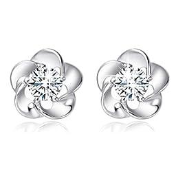 Binmer(TM)New Fashion 925 Sterling Silver Rose Flower Shaped Austrian Crystal Stud Earrings for Women Ladies Gift (White)
