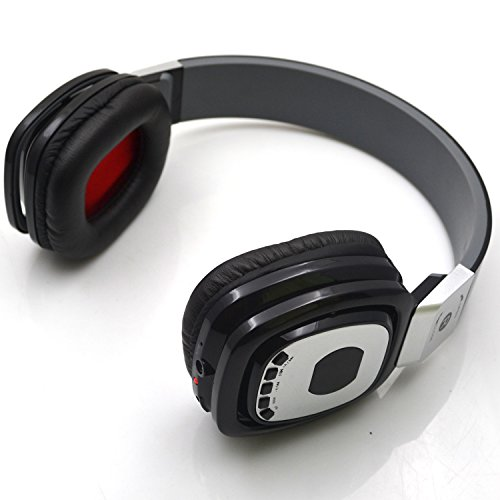Bluetooth Stereo Headphone Chrome For Music Stream & Handsfree Calling, Built-In Microphone & Battery, With Fm Radio & Micro Sd Card Slot Function, Retractable And Foldable Design,Noise-Cancellation Stereo Headphone Headsets,Work With Samsung, Apple Iphon