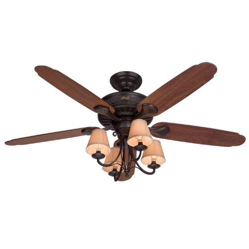 Hunter 22710 Cortland 54-Inch Ceiling Fan with Optional Light and 5 Dark-Cherry/Walnut-Oak Blades, New Bronze