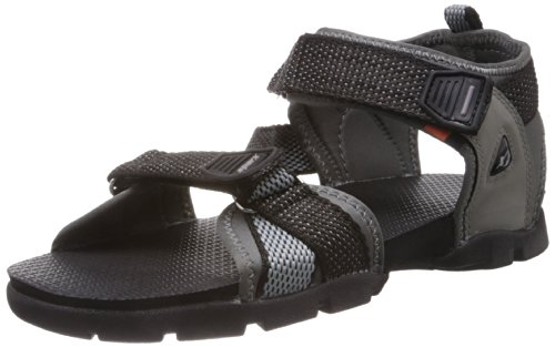 Sparx Men's Black and Grey Sandals and Floaters - 8 UK