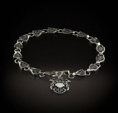 Harley-Davidson® Stamper Women's Stainless Steel Bracelet. Dangling Bar & Shield. Antiqued Fleur-de-lis. STB7886