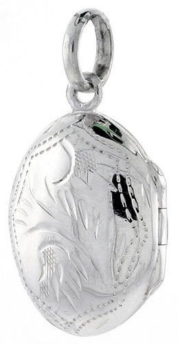 Small Sterling Silver Hand Engraved Oval Locket, 1/2 inch (14 mm) X 3/4 inch (18 mm)