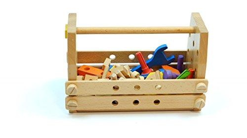 Holz-Werkzeugkiste-kleine-Werkbank-mit-viel-Zubehr-42-teiliges-Set-Holz-Hammer-Schraubzwinge-Schraubenzieher-usw