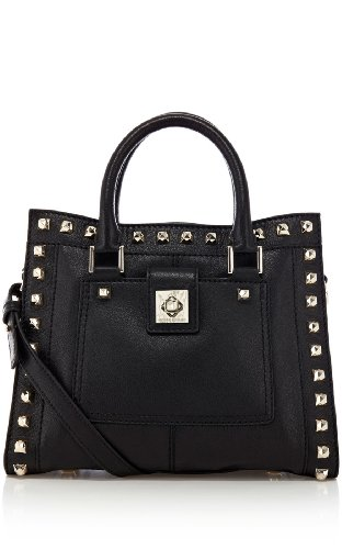 Studded leather box bag