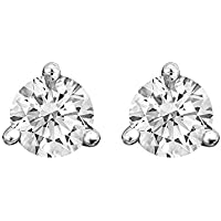 Round Diamond 3 Prong Martini Earrings