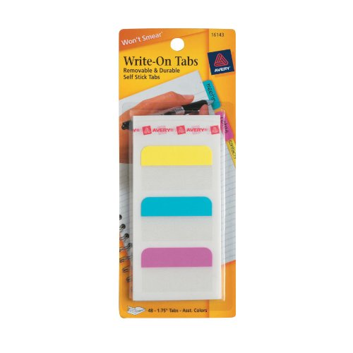 Avery Write-On Tabs, 1.75 Inches, 48 Tabs (16143)