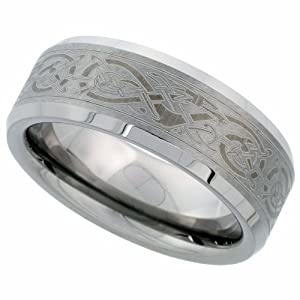 Tungsten Ring 8 mm Flat Wedding Band Etched Celtic Dragon Pattern Beveled Edges, size 15