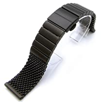 24mm Heavy Stainless Steel Mesh Watch Solid Link Deployment Strap, PVD Black