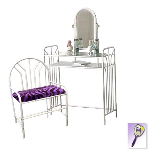 New White Metal Finish Make Up Vanity Table With Mirror & Purple Zebra Faux Fur Themed Bench front-1032909