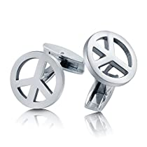 BERRICLE Stainless Steel Peace Sign Men Fashion Cufflinks