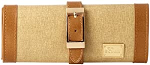 Paylak TS11386BR Tan Brown Leather Jewelry Travel Bag with Gold-Tone Buckle
