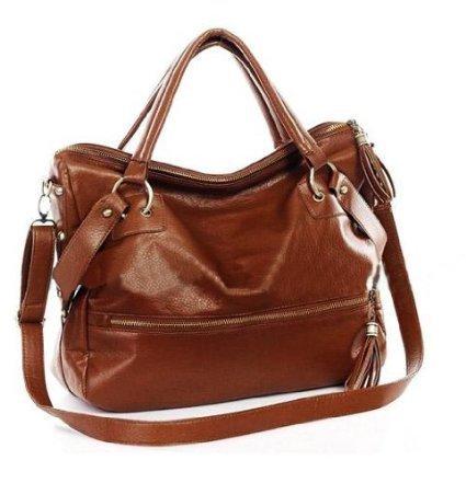 Brown Lady Korean Hobo Pu Tassel Leather Handbag Shoulder Bag Large Capacity