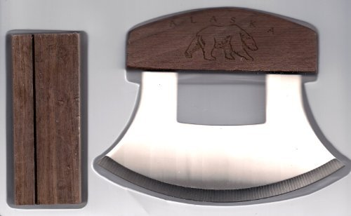 Alaskan Ulu Etched Bear Wood Handle Knife & Display Stand