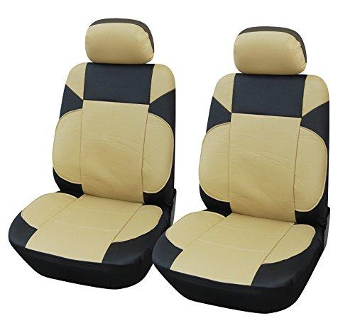 Vinyl 2 Front Car Seat Covers Kia 853 Black/Tan front-435845