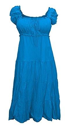 eVogues Plus Size Cotton Empire Waist Sundress Blue - 1X
