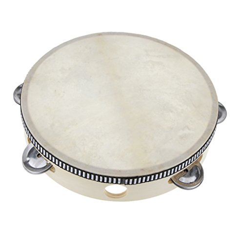 8-Tamburin-Schlagen-Holz-Trommel-Runden-Ringen-Schaffell-Schlagzeug-Kinder-Spielzeug-Geschenk