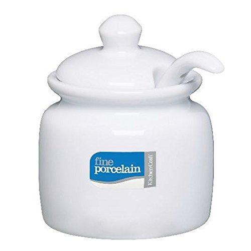 Style Traditionnel Porcelaine Blanche Couverte Pot De Moutarde Avec Une Cuillère (pack de 2)