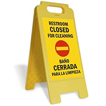 Restroom closed for cleaning bano cerrada - Limpieza de banos ...