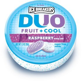 Ice Breakers Duo Fruit + Cool Mints, Raspberry, 1.3-Ounce Containers (Pack of 8)