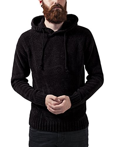 Urban Classics Chenille Hooded Sweater, Cappuccio Uomo, Nero (Black 7), Large